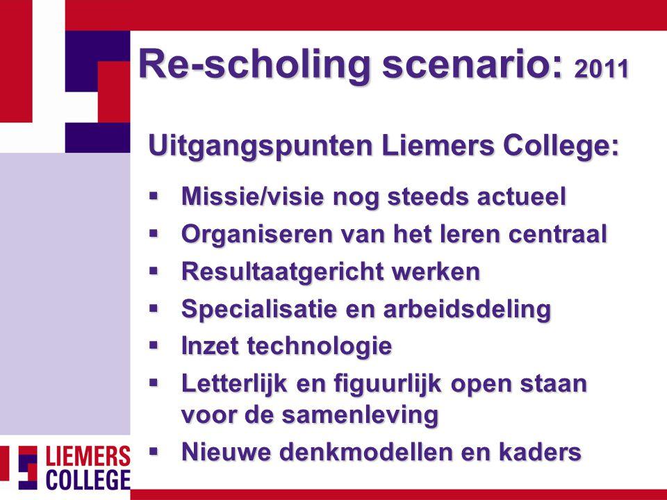 Re-scholing scenario: 2011 Uitgangspunten Liemers College:  Missie/visie nog steeds actueel  Organiseren van het leren centraal  Resultaatgericht w