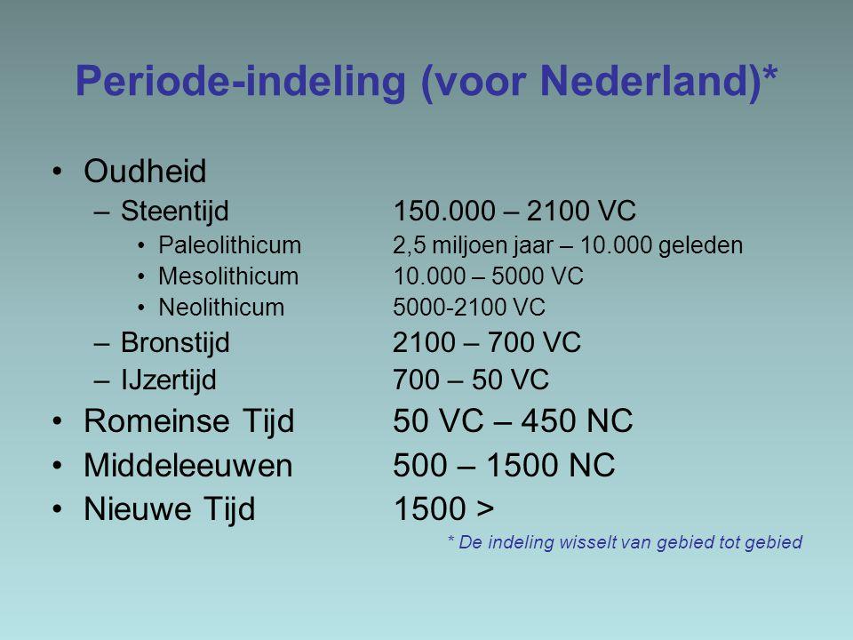 Periode-indeling (voor Nederland)* Oudheid –Steentijd 150.000 – 2100 VC Paleolithicum 2,5 miljoen jaar – 10.000 geleden Mesolithicum 10.000 – 5000 VC