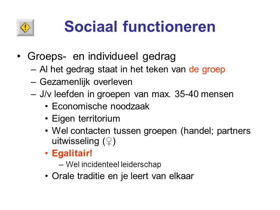 Sociaal functioneren Groeps- en individueel gedrag –Al het gedrag staat in het teken van de groep –Gezamenlijk overleven –J/v leefden in groepen van m