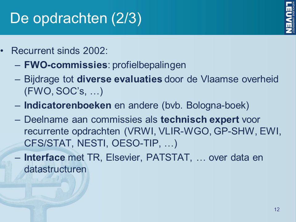De opdrachten (2/3) Recurrent sinds 2002: –FWO-commissies: profielbepalingen –Bijdrage tot diverse evaluaties door de Vlaamse overheid (FWO, SOC's, …)