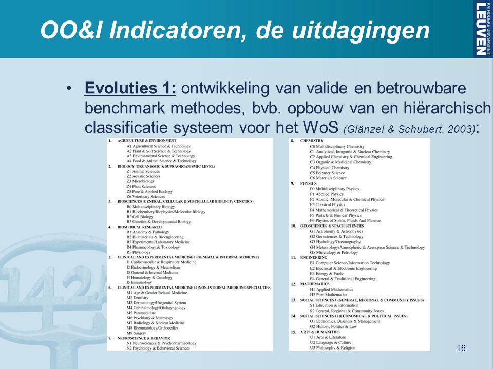 OO&I Indicatoren, de uitdagingen Evoluties 1: ontwikkeling van valide en betrouwbare benchmark methodes, bvb. opbouw van en hiërarchisch classificatie