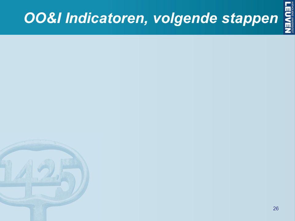OO&I Indicatoren, volgende stappen 26