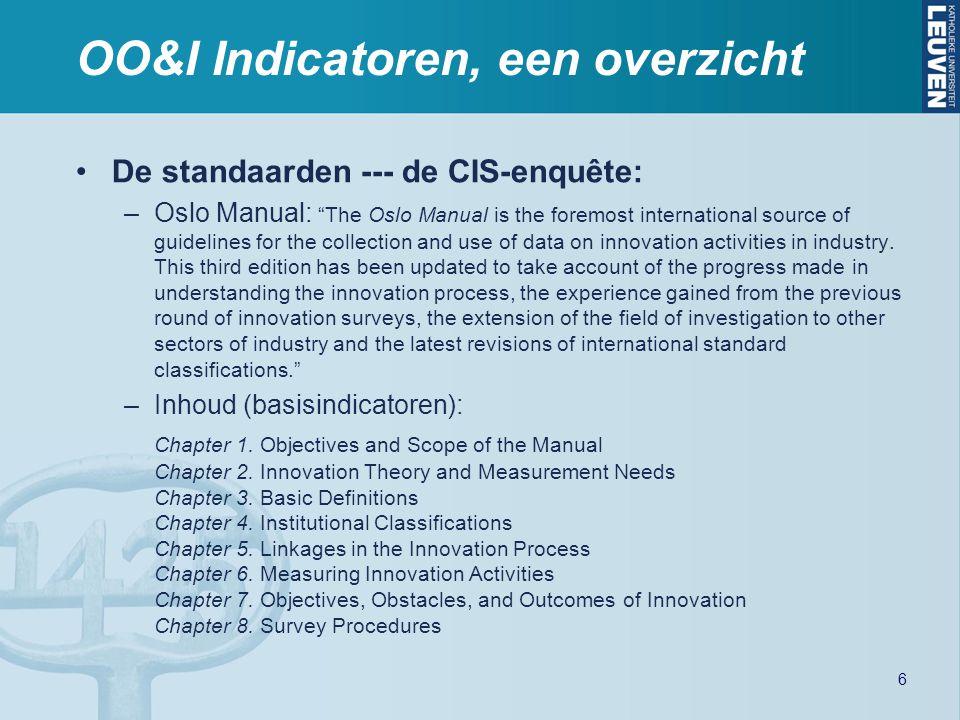 """OO&I Indicatoren, een overzicht De standaarden --- de CIS-enquête: –Oslo Manual: """"The Oslo Manual is the foremost international source of guidelines f"""