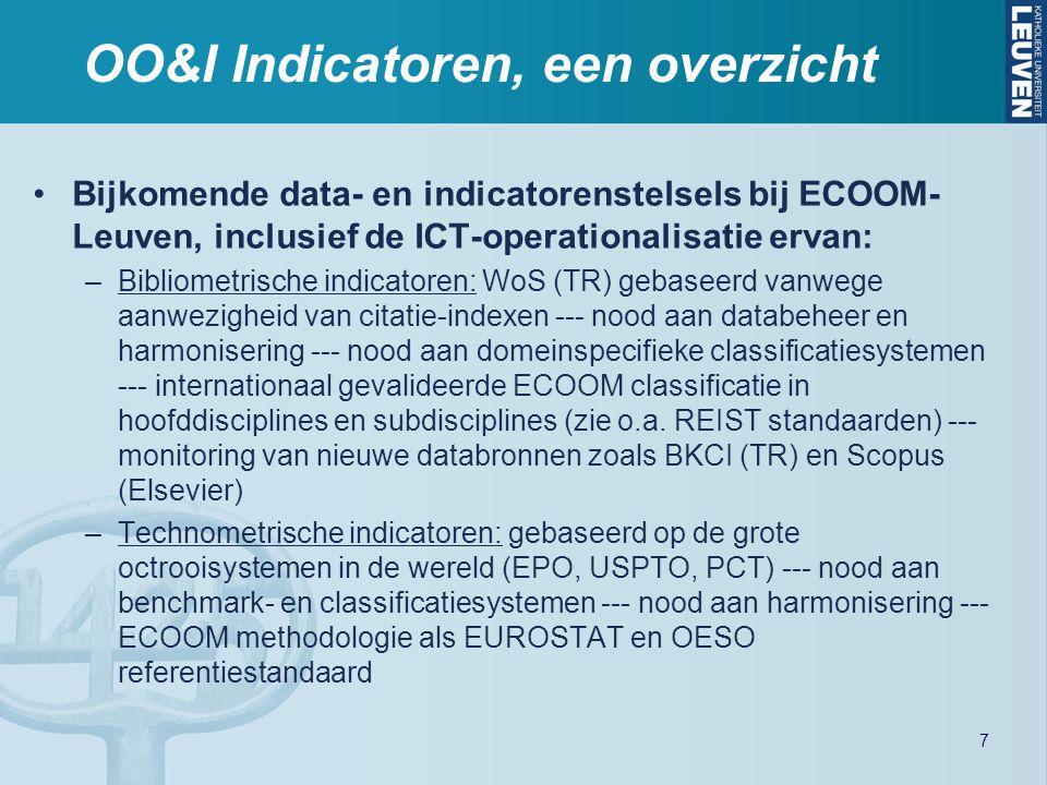 OO&I Indicatoren, een overzicht Bijkomende data- en indicatorenstelsels bij ECOOM- Leuven, inclusief de ICT-operationalisatie ervan: –Bibliometrische