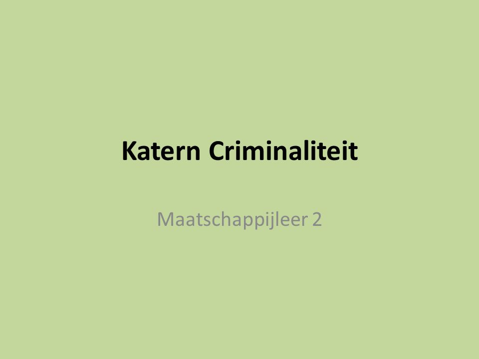 Katern Criminaliteit Maatschappijleer 2