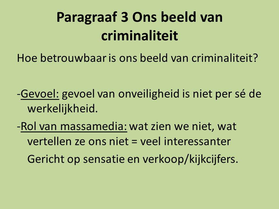 Paragraaf 3 Ons beeld van criminaliteit Hoe betrouwbaar is ons beeld van criminaliteit.