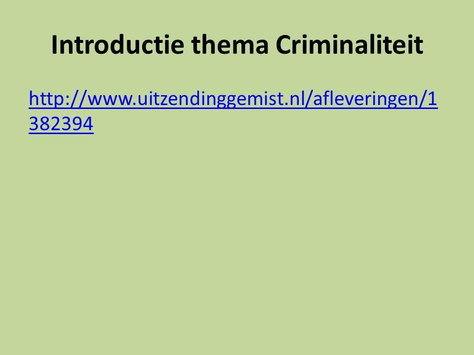 Introductie thema Criminaliteit http://www.uitzendinggemist.nl/afleveringen/1 382394
