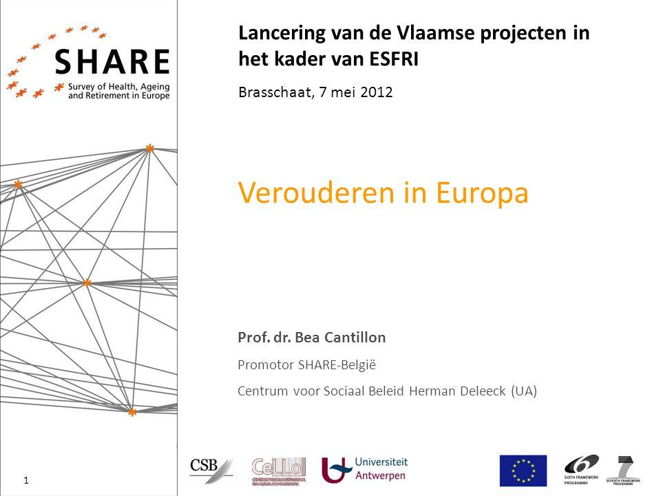 Lancering van de Vlaamse projecten in het kader van ESFRI Brasschaat, 7 mei 2012 Verouderen in Europa Prof.