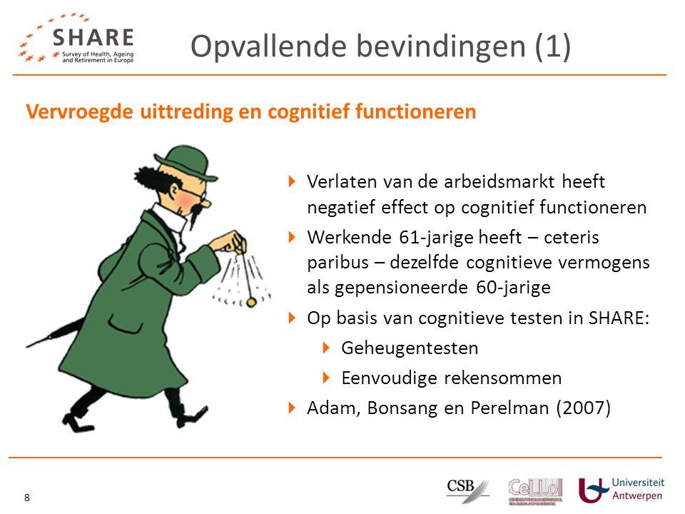Opvallende bevindingen (1) 8 Vervroegde uittreding en cognitief functioneren  Verlaten van de arbeidsmarkt heeft negatief effect op cognitief functioneren  Werkende 61-jarige heeft – ceteris paribus – dezelfde cognitieve vermogens als gepensioneerde 60-jarige  Op basis van cognitieve testen in SHARE:  Geheugentesten  Eenvoudige rekensommen  Adam, Bonsang en Perelman (2007)