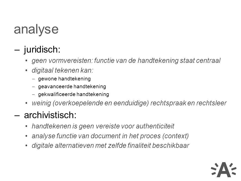 –juridisch: geen vormvereisten: functie van de handtekening staat centraal digitaal tekenen kan: – gewone handtekening – geavanceerde handtekening – g