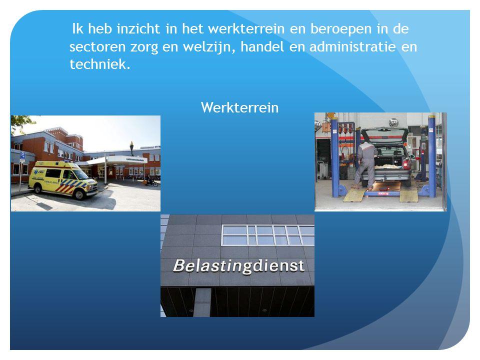 Ik heb inzicht in het werkterrein en beroepen in de sectoren zorg en welzijn, handel en administratie en techniek Beroepen