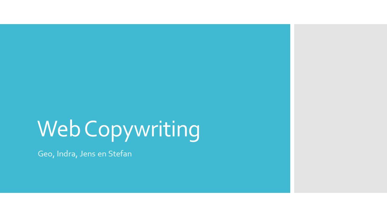 Web Copywriting Geo, Indra, Jens en Stefan