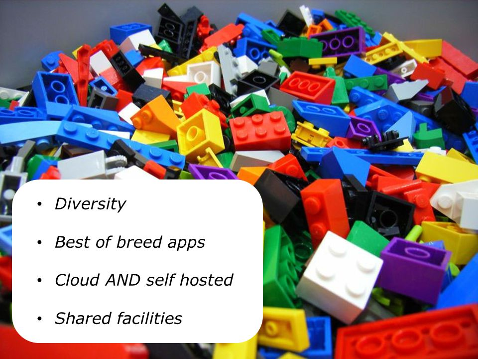 Diversity Best of breed apps Cloud AND self hosted Shared facilities