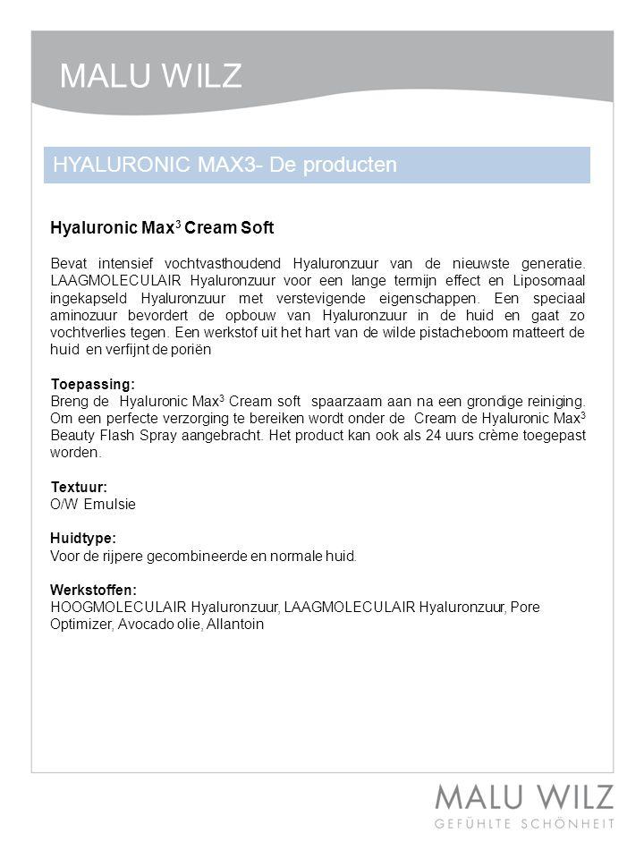Hyaluronic Max 3 Cream Soft Bevat intensief vochtvasthoudend Hyaluronzuur van de nieuwste generatie. LAAGMOLECULAIR Hyaluronzuur voor een lange termij