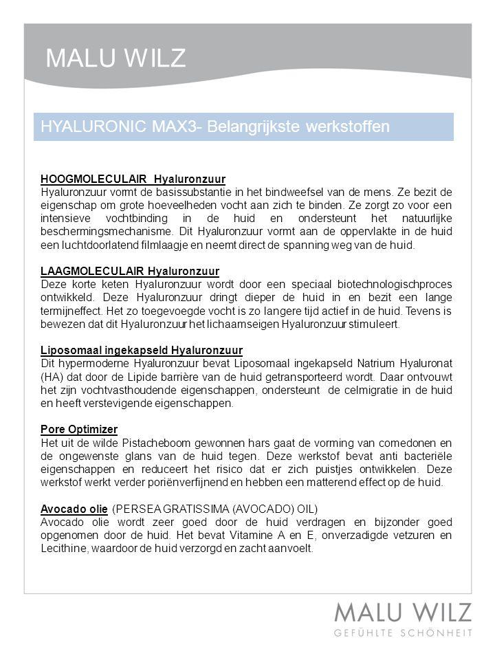 HOOGMOLECULAIR Hyaluronzuur Hyaluronzuur vormt de basissubstantie in het bindweefsel van de mens.