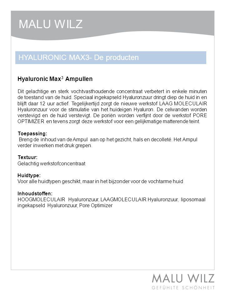 Hyaluronic Max 3 Ampullen Dit gelachtige en sterk vochtvasthoudende concentraat verbetert in enkele minuten de toestand van de huid. Speciaal ingekaps