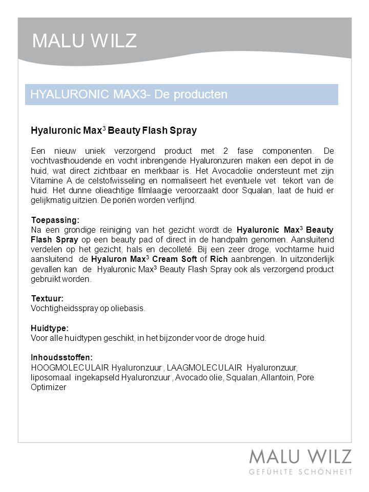 Hyaluronic Max 3 Beauty Flash Spray Een nieuw uniek verzorgend product met 2 fase componenten. De vochtvasthoudende en vocht inbrengende Hyaluronzuren