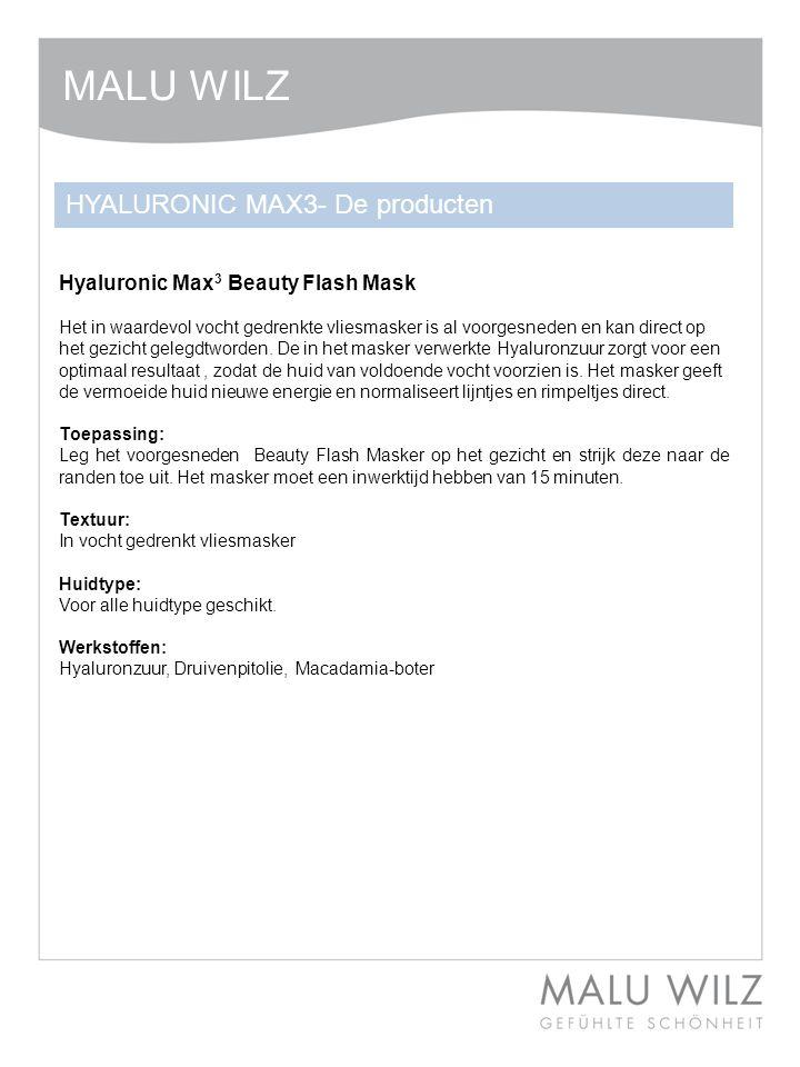Hyaluronic Max 3 Beauty Flash Mask Het in waardevol vocht gedrenkte vliesmasker is al voorgesneden en kan direct op het gezicht gelegdtworden.