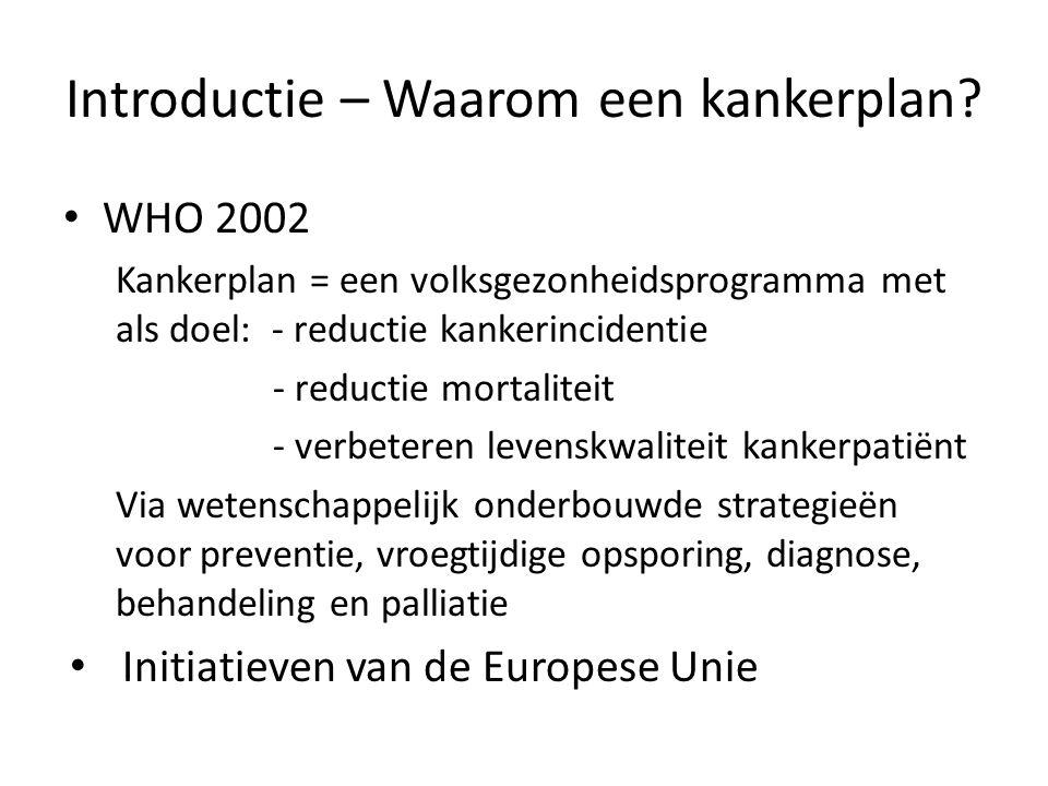 Het Kankerplan VG/ – maart 2003: KB Zorgprogramma's – 2007: WITBOEK: de aanpak van Kanker in België Maart 2008: Nationaal Kankerplan 2008-2010 – 32 acties/61 maatregelen – 3 domeinen: Preventie en opsporing Zorg, behandeling en steun voor patiënten Onderzoek, innovatieve technologie en evaluatie