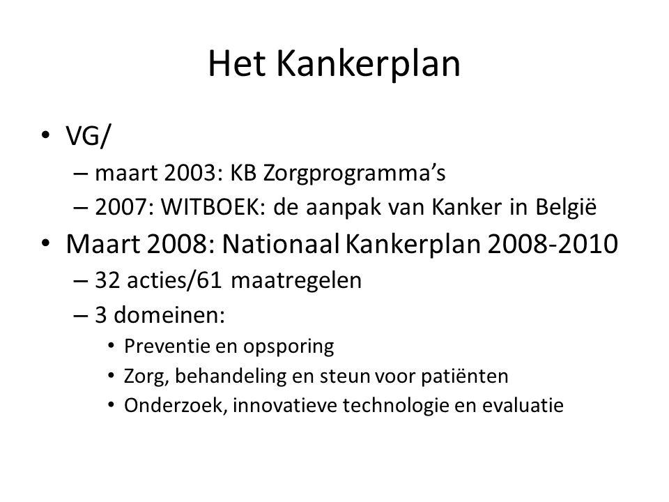 Het Kankerplan VG/ – maart 2003: KB Zorgprogramma's – 2007: WITBOEK: de aanpak van Kanker in België Maart 2008: Nationaal Kankerplan 2008-2010 – 32 ac