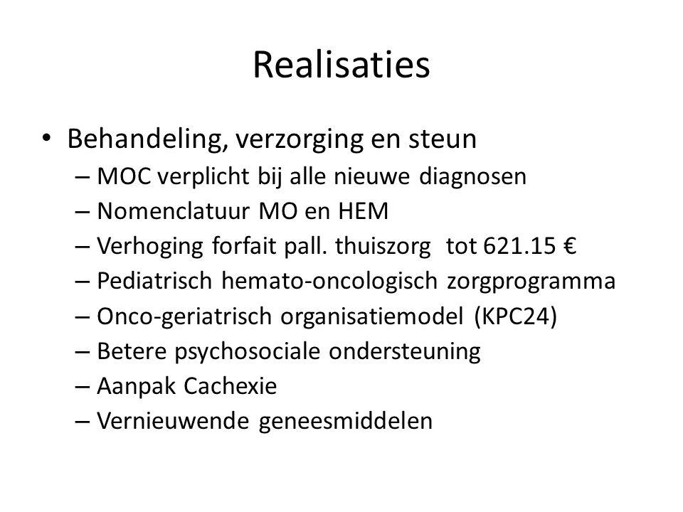 Realisaties Behandeling, verzorging en steun – MOC verplicht bij alle nieuwe diagnosen – Nomenclatuur MO en HEM – Verhoging forfait pall. thuiszorg to