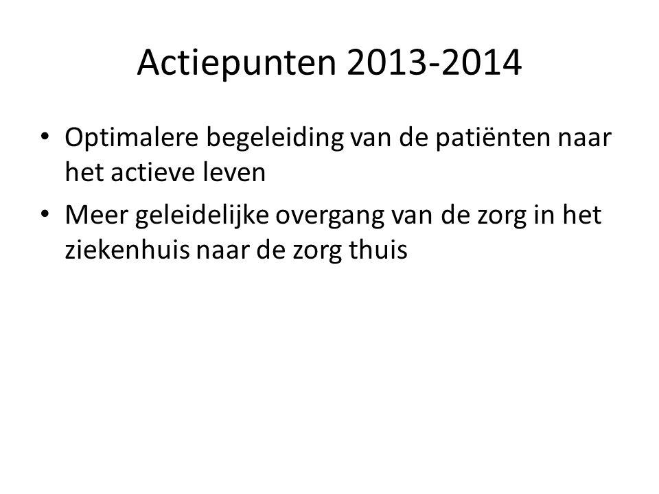Actiepunten 2013-2014 Optimalere begeleiding van de patiënten naar het actieve leven Meer geleidelijke overgang van de zorg in het ziekenhuis naar de