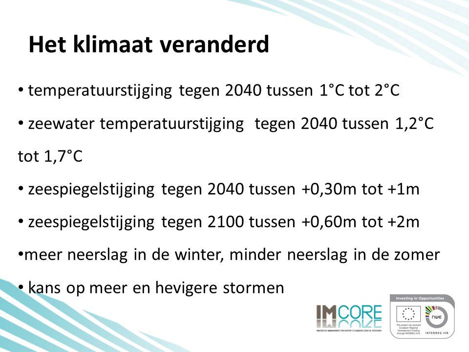 Het klimaat veranderd temperatuurstijging tegen 2040 tussen 1°C tot 2°C zeewater temperatuurstijging tegen 2040 tussen 1,2°C tot 1,7°C zeespiegelstijging tegen 2040 tussen +0,30m tot +1m zeespiegelstijging tegen 2100 tussen +0,60m tot +2m meer neerslag in de winter, minder neerslag in de zomer kans op meer en hevigere stormen
