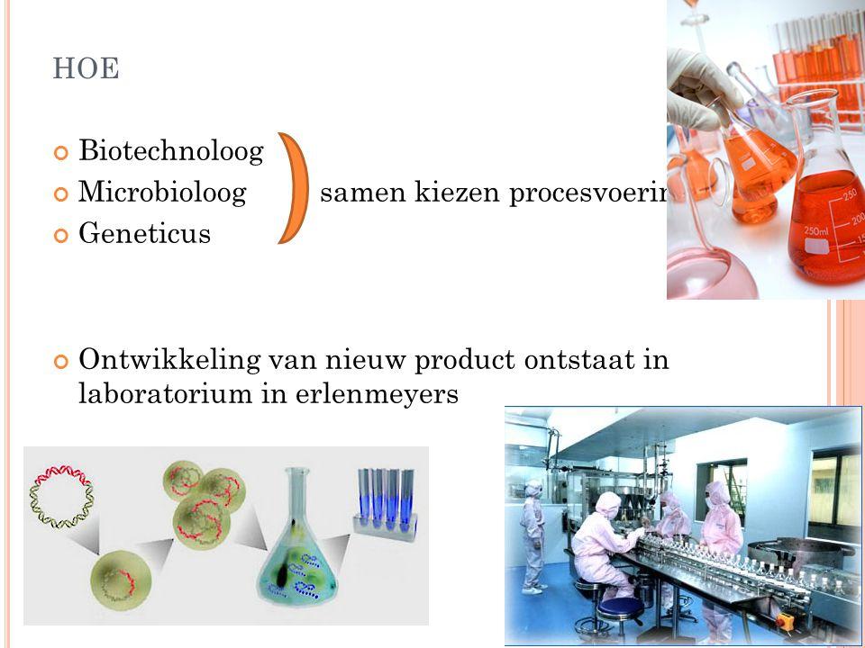 HOE Biotechnoloog Microbioloog samen kiezen procesvoering Geneticus Ontwikkeling van nieuw product ontstaat in laboratorium in erlenmeyers