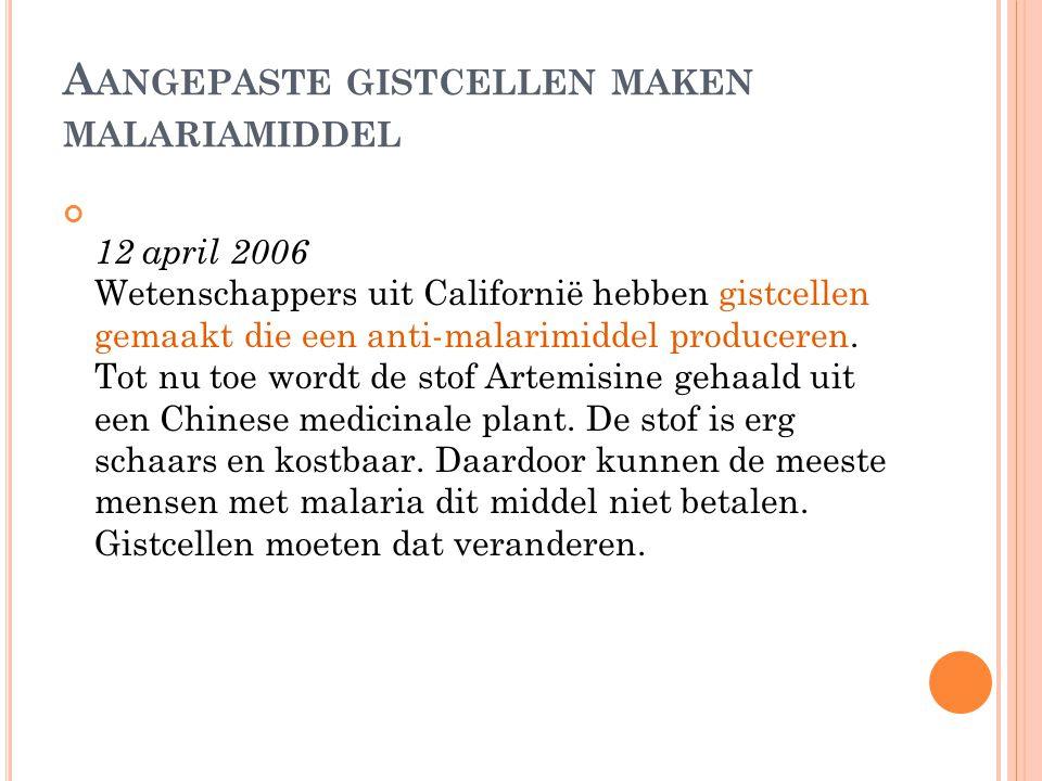 A ANGEPASTE GISTCELLEN MAKEN MALARIAMIDDEL 12 april 2006 Wetenschappers uit Californië hebben gistcellen gemaakt die een anti-malarimiddel produceren.