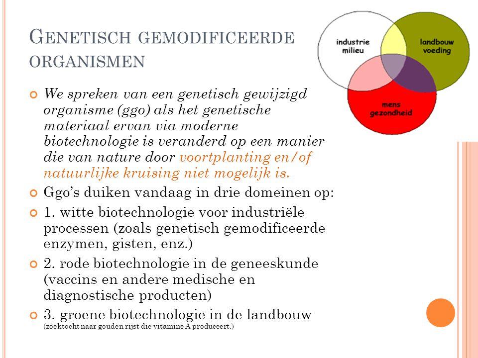 G ENETISCH GEMODIFICEERDE ORGANISMEN We spreken van een genetisch gewijzigd organisme (ggo) als het genetische materiaal ervan via moderne biotechnolo