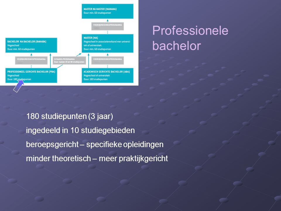 Professionele bachelor 180 studiepunten (3 jaar) ingedeeld in 10 studiegebieden beroepsgericht – specifieke opleidingen minder theoretisch – meer praktijkgericht