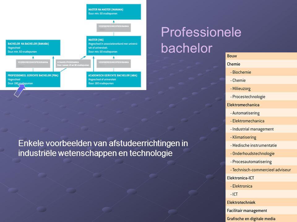 Professionele bachelor Enkele voorbeelden van afstudeerrichtingen in industriële wetenschappen en technologie