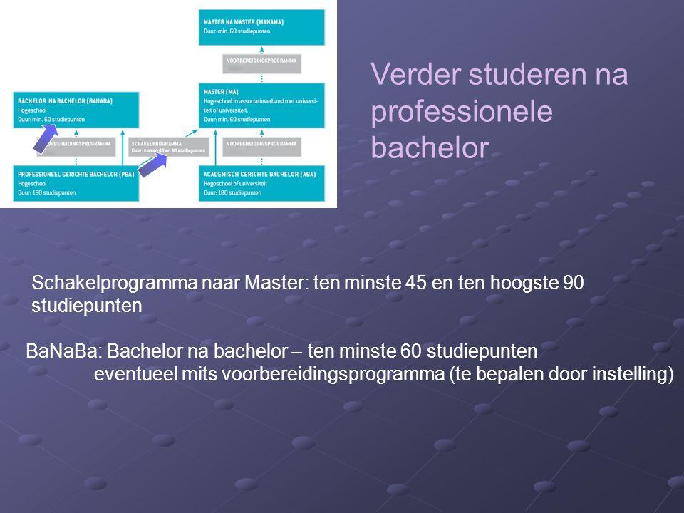 Verder studeren na professionele bachelor BaNaBa: Bachelor na bachelor – ten minste 60 studiepunten eventueel mits voorbereidingsprogramma (te bepalen door instelling) Schakelprogramma naar Master: ten minste 45 en ten hoogste 90 studiepunten