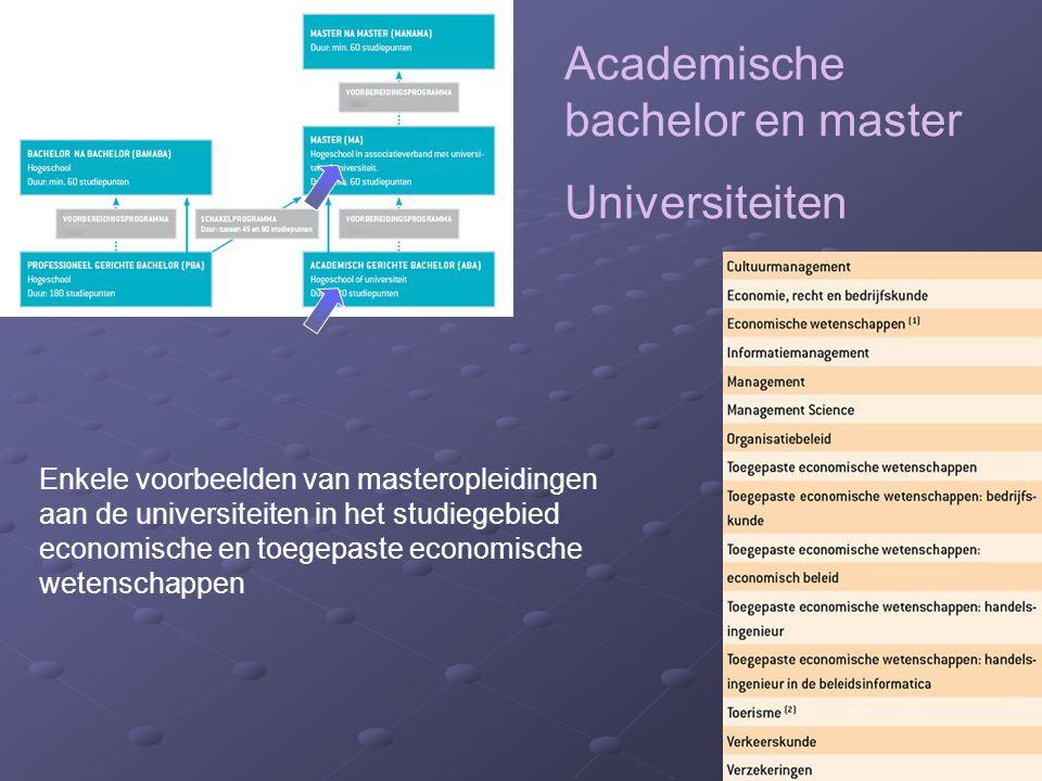 Academische bachelor en master Universiteiten Enkele voorbeelden van masteropleidingen aan de universiteiten in het studiegebied economische en toegepaste economische wetenschappen