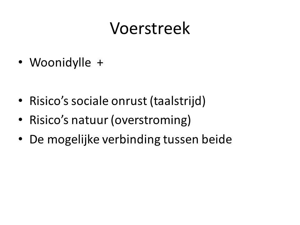 Voerstreek Woonidylle + Risico's sociale onrust (taalstrijd) Risico's natuur (overstroming) De mogelijke verbinding tussen beide