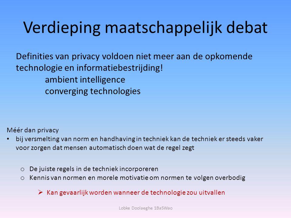 Verdieping maatschappelijk debat Definities van privacy voldoen niet meer aan de opkomende technologie en informatiebestrijding! ambient intelligence