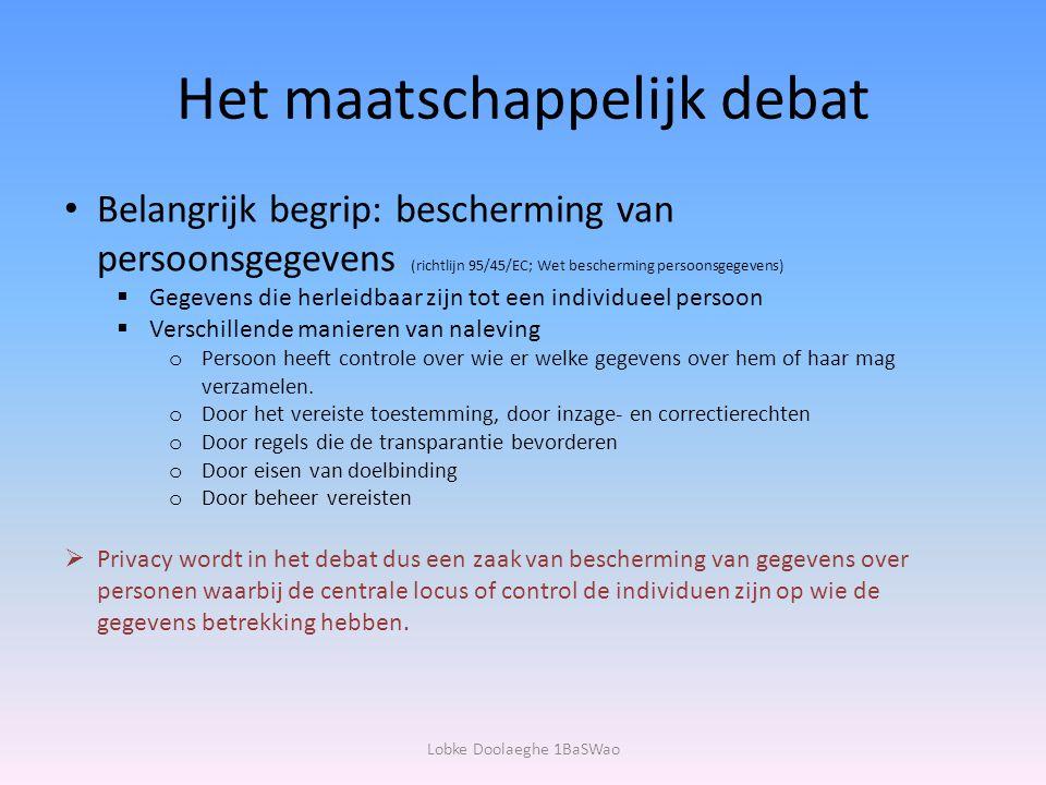 Het maatschappelijk debat Belangrijk begrip: bescherming van persoonsgegevens (richtlijn 95/45/EC; Wet bescherming persoonsgegevens)  Gegevens die he