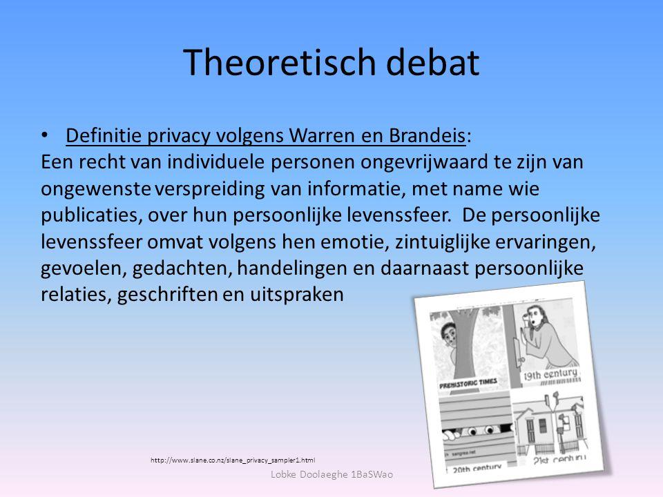 Theoretisch debat Definitie privacy volgens Warren en Brandeis: Een recht van individuele personen ongevrijwaard te zijn van ongewenste verspreiding v