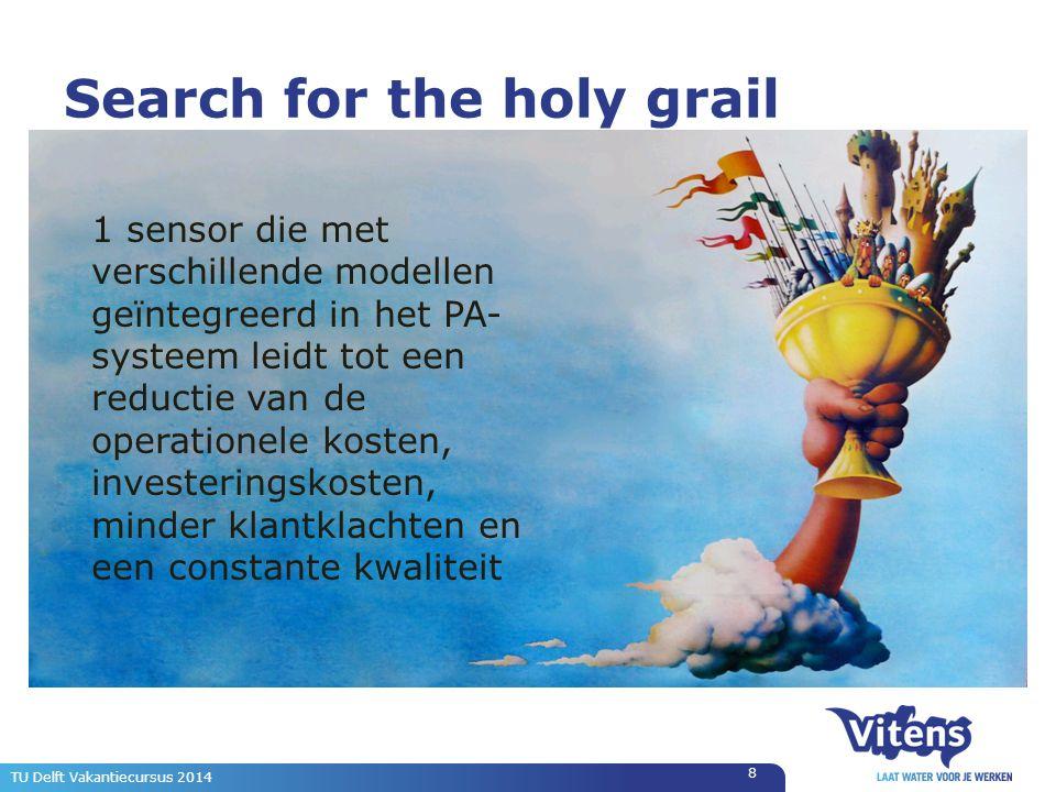 Search for the holy grail 8 TU Delft Vakantiecursus 2014 1 sensor die met verschillende modellen geïntegreerd in het PA- systeem leidt tot een reductie van de operationele kosten, investeringskosten, minder klantklachten en een constante kwaliteit