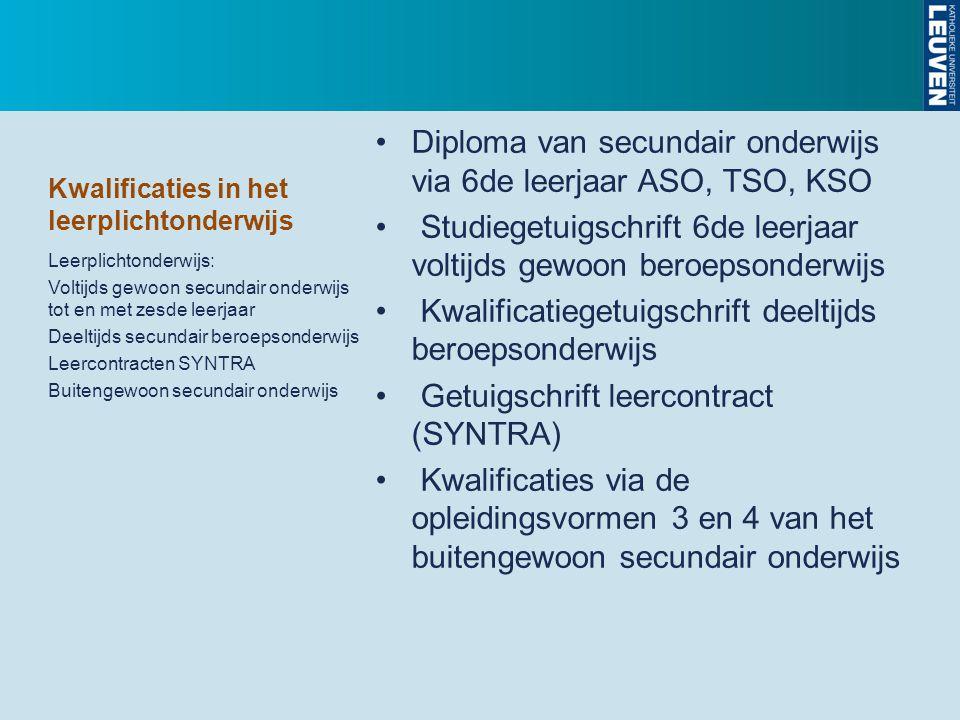 Kwalificaties in het leerplichtonderwijs Diploma van secundair onderwijs via 6de leerjaar ASO, TSO, KSO Studiegetuigschrift 6de leerjaar voltijds gewo