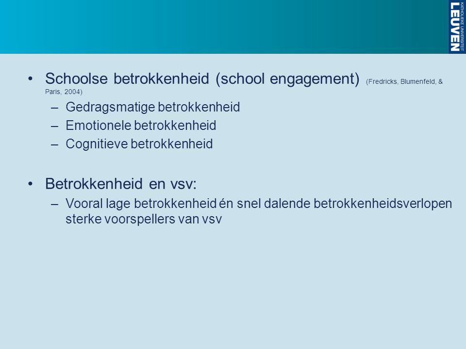 Schoolse betrokkenheid (school engagement) (Fredricks, Blumenfeld, & Paris, 2004) –Gedragsmatige betrokkenheid –Emotionele betrokkenheid –Cognitieve b