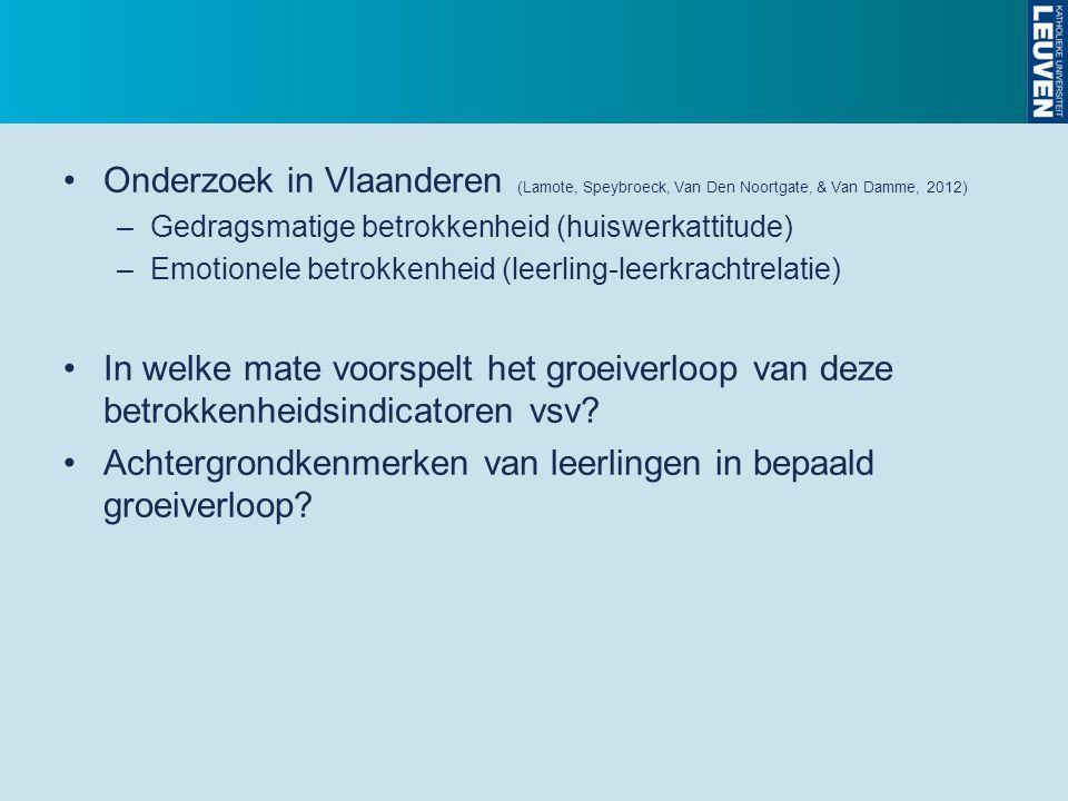 Onderzoek in Vlaanderen (Lamote, Speybroeck, Van Den Noortgate, & Van Damme, 2012) –Gedragsmatige betrokkenheid (huiswerkattitude) –Emotionele betrokk