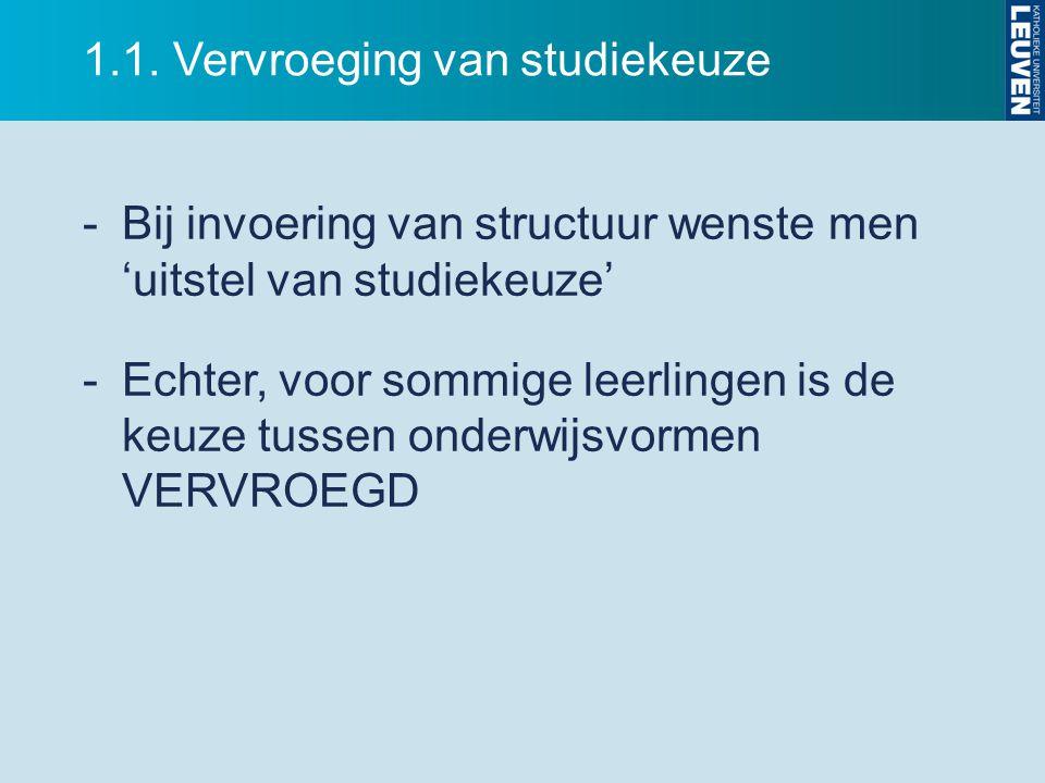1.1. Vervroeging van studiekeuze -Bij invoering van structuur wenste men 'uitstel van studiekeuze' -Echter, voor sommige leerlingen is de keuze tussen