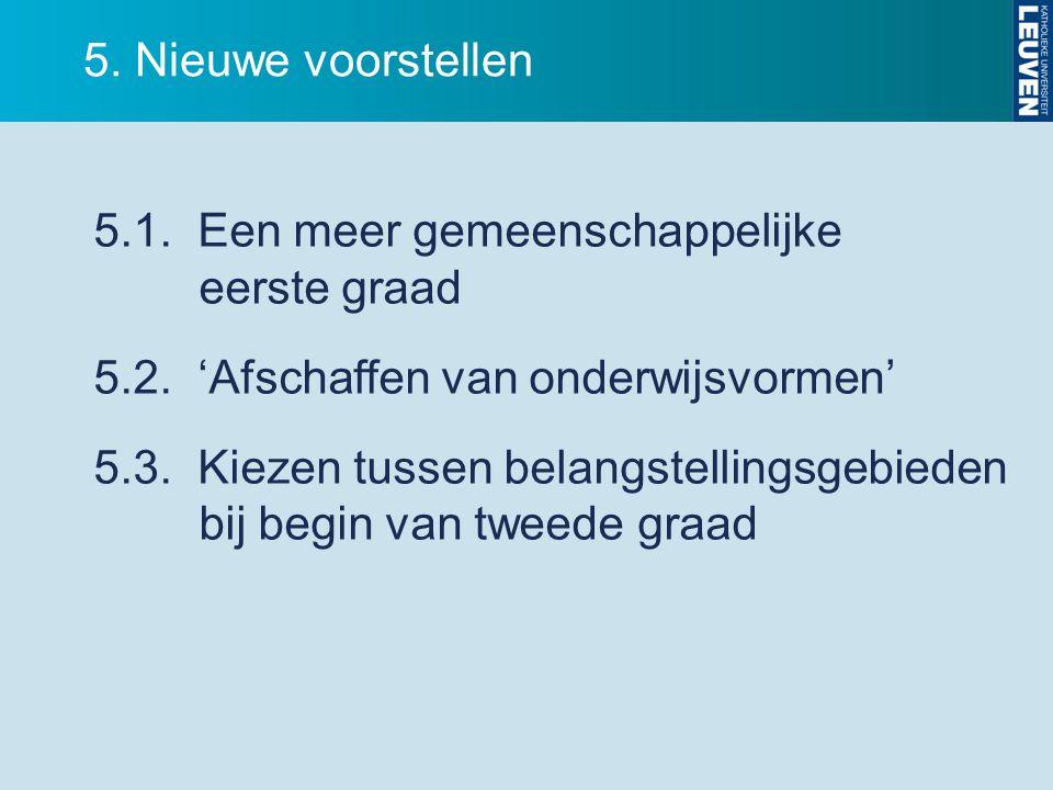 5. Nieuwe voorstellen 5.1. Een meer gemeenschappelijke eerste graad 5.2. 'Afschaffen van onderwijsvormen' 5.3. Kiezen tussen belangstellingsgebieden b