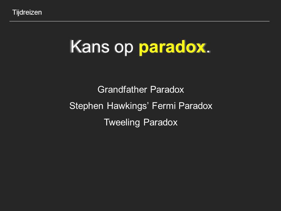 Kans op paradox. Tijdreizen Grandfather Paradox Stephen Hawkings' Fermi Paradox Tweeling Paradox