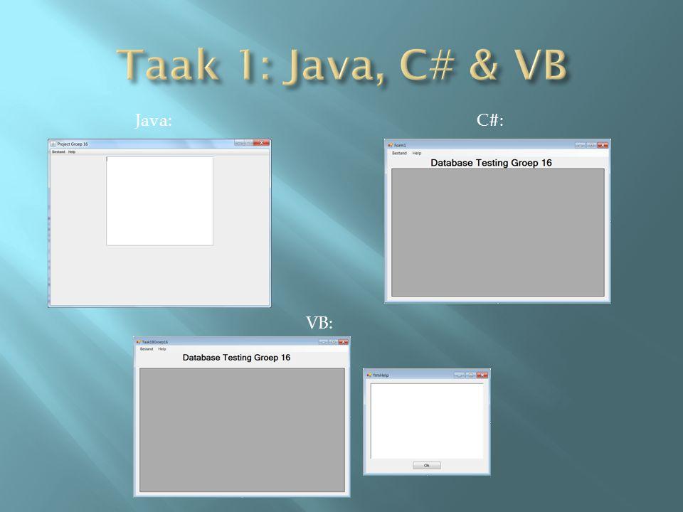 VB: C#:Java: