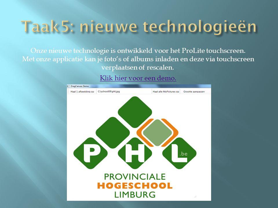 Onze nieuwe technologie is ontwikkeld voor het ProLite touchscreen. Met onze applicatie kan je foto's of albums inladen en deze via touchscreen verpla