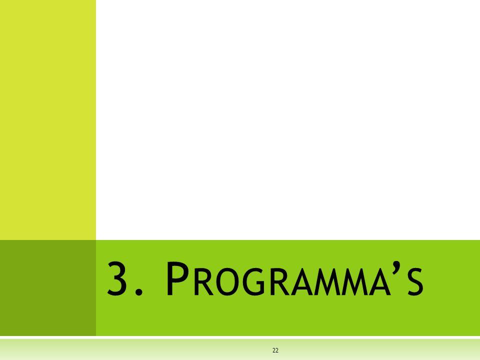 3. P ROGRAMMA ' S 22