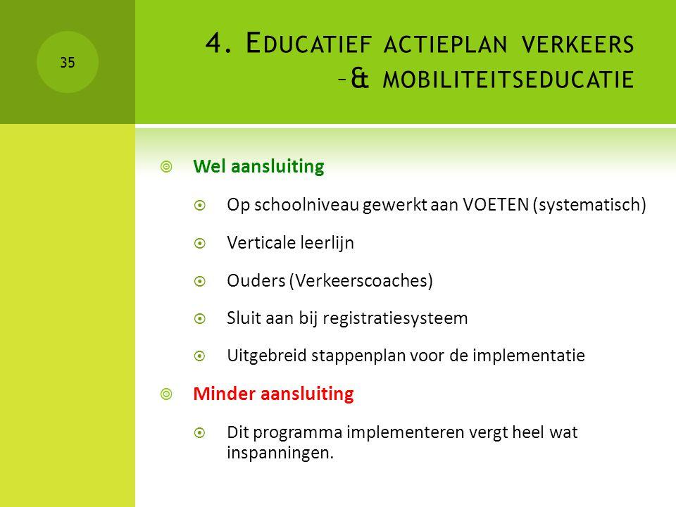 4. E DUCATIEF ACTIEPLAN VERKEERS –& MOBILITEITSEDUCATIE  Wel aansluiting  Op schoolniveau gewerkt aan VOETEN (systematisch)  Verticale leerlijn  O
