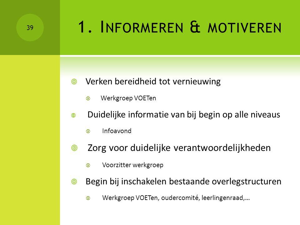  Verken bereidheid tot vernieuwing  Werkgroep VOETen  Duidelijke informatie van bij begin op alle niveaus  Infoavond  Zorg voor duidelijke verant